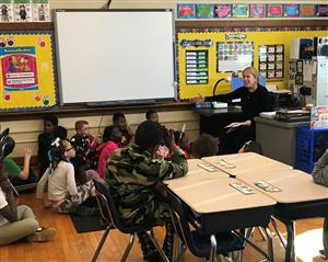 Pam Allyn reads to Whittier third grade students