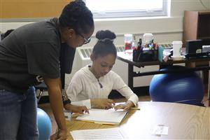 One-on-one instruction during summer school at Trewyn School