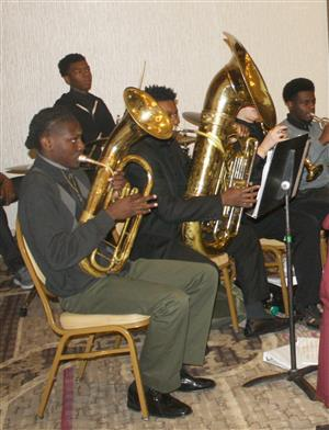 PHS band members play at State of the Schools breakfast