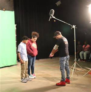 students prepare to tape Black History Month PSA