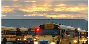 PPS buses ready to roll at dawn.