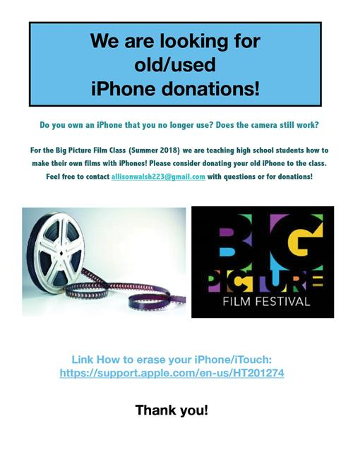 Seeking iPhone donations for movie class