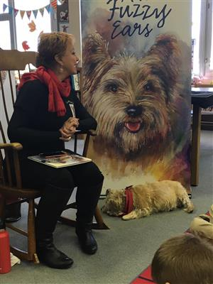Donna Carr Roberts and Mr. Fuzzy Ears Make a Visit to the Kellar Library