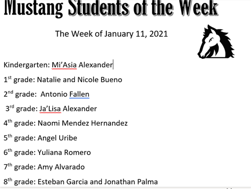 Mustang Students of the Week