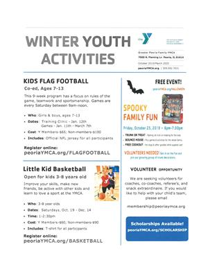 YMCA winter youth activity flyer