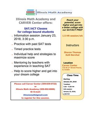 Carver Center offers ACT/SAT prep class