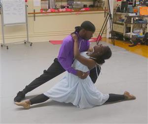 Destini Edwards and Javier Guyton rehearse for Dancing with the Local Stars