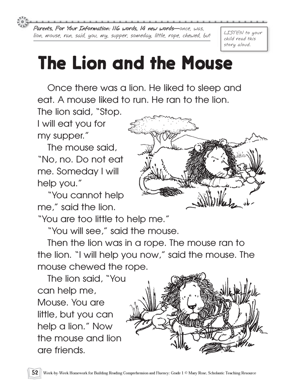 picture about The Lion and the Mouse Story Printable referred to as Sam and Scruffy Reviews