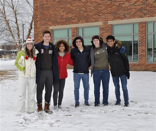 A few Interact members making snow angels at the Illinois Cancer Center.