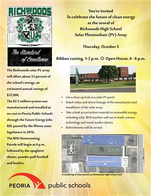 RHS solar ribbon cutting open house flyer
