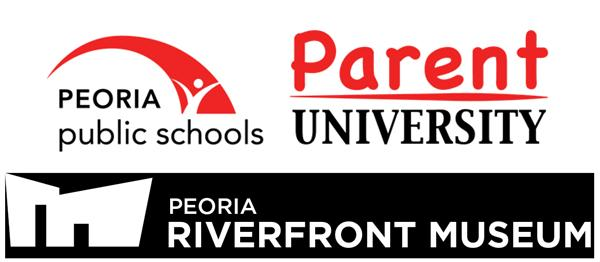 Parent University logo; Peoria Riverfront Museum logo