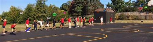 Frisbee Throwing with Third Grade