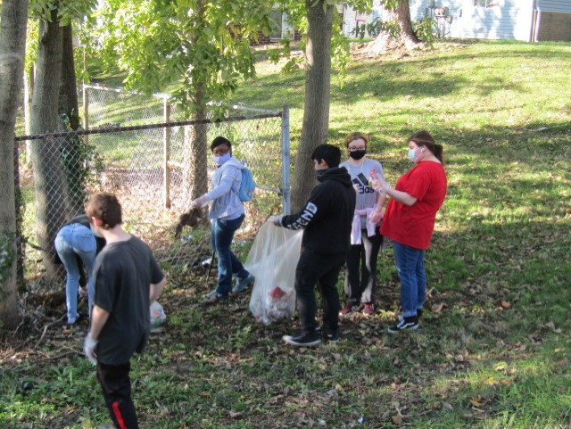 Manual High School JROTC cadets clean up the ''Adopt a Highway''.