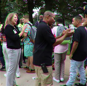 community leaders cheer for Manual students on first day of school