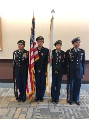 On the 18th of September, the Army JROTC program posted the National Colors for the Peoria Bar Associations Annual Diversity luncheon.  From left to right, Cadet's Giselle Ochoa, Nataly Rodriguez, Areli Gomez and Kamren Baum