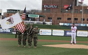 Manual's Army JROTC posted the National Colors at the Peoria Chiefs Education Day on the 10th of April.
