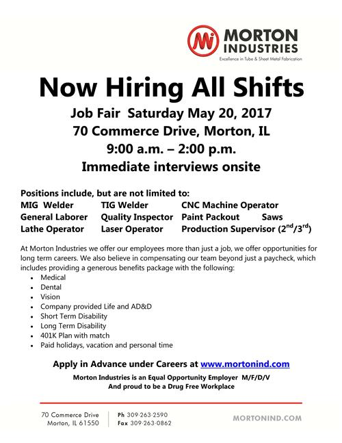 Morton Industries hiring for all shifts